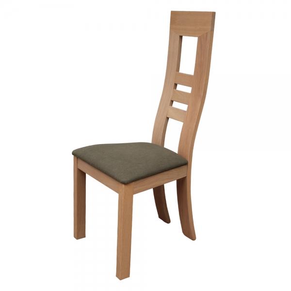 Chaise fabrication française en bois massif et assise tissu taupe - Muscade 1060 - 6