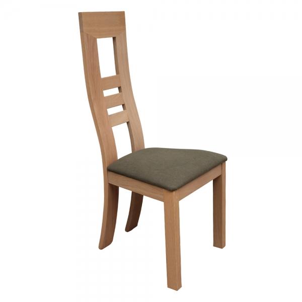 Chaise française en bois massif et assise tissu gris - Muscade 1060 - 5