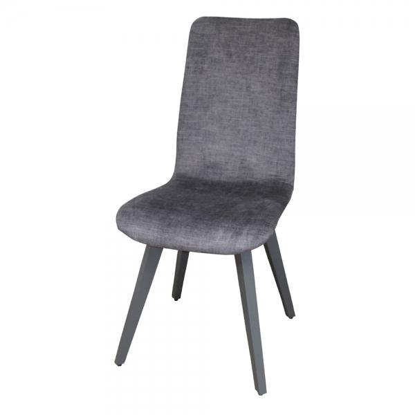 Chaise fabrication française en tissu gris et pieds bois - Lys - 2