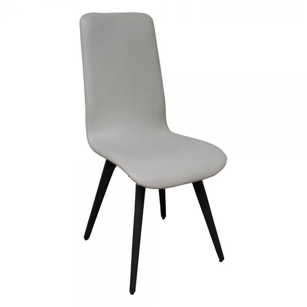 Chaise moderne confortable en tissu gris et bois fabrication française - Lotus - 3