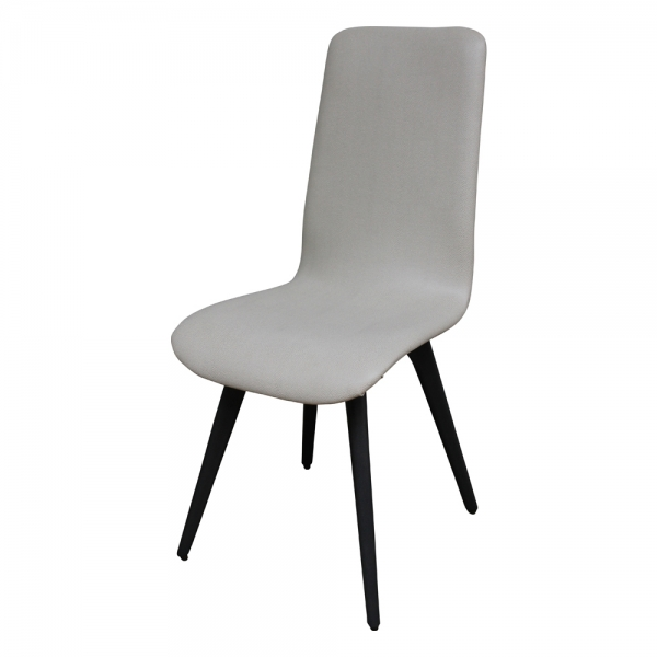 Chaise moderne confortable en tissu gris et bois made in France - Lotus - 4