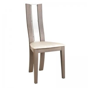 Chaise de salle à manger française en bois et synthétique - Anis Arc 1460