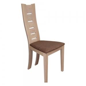 Chaise contemporaine en bois massif et assise tissu marron - Anis 1450