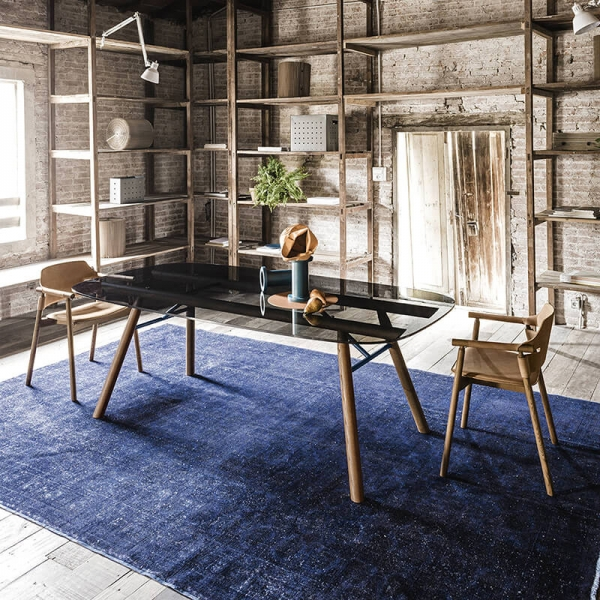 Table design rectangulaire en verre pieds bois - Suite Midj® - 1