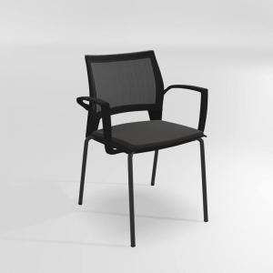 Chaise avec accoudoirs empilable tri-matière - Tecna