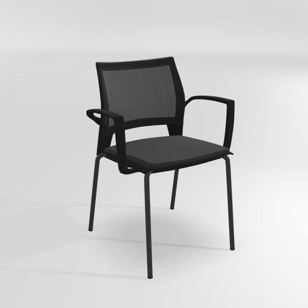 Chaise avec accoudoirs empilable tri-matière - Tecna - 1