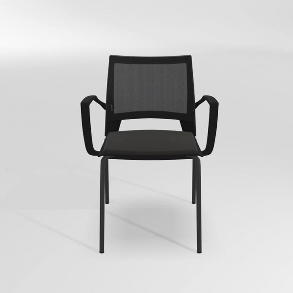 Chaise noire avec accoudoirs empilable tri-matière - Tecna - 3
