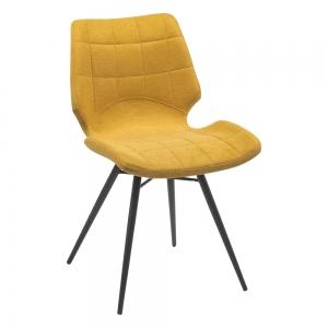 Chaise design vintage jaune rembourrée en tissu - Iberis