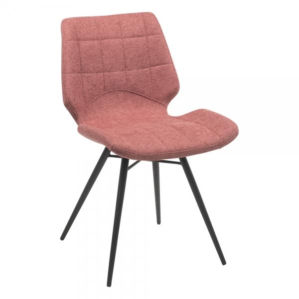 Chaise design vintage rose rembourrée en tissu - Iberis - 6