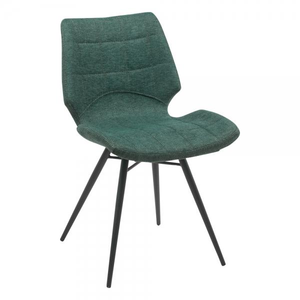 Chaise design vintage en tissu vert - Iberis - 11