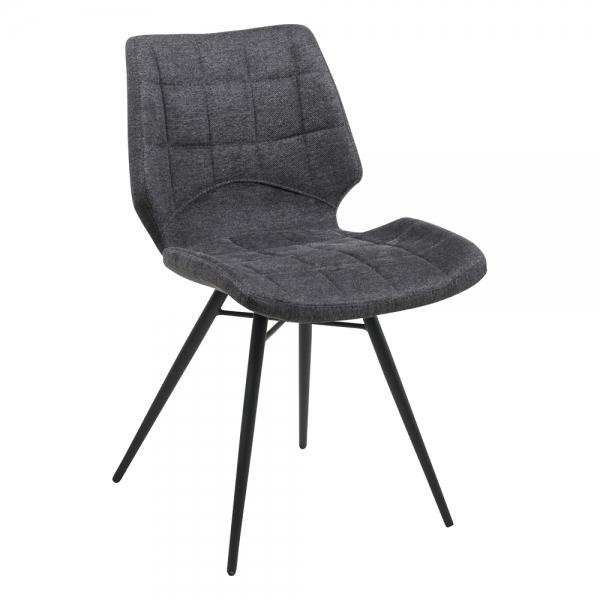 Chaise design vintage grise rembourrée en tissu - Iberis - 17
