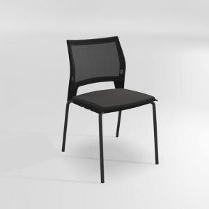 Chaise empilable en métal, tissu et polypropylène - Tecna