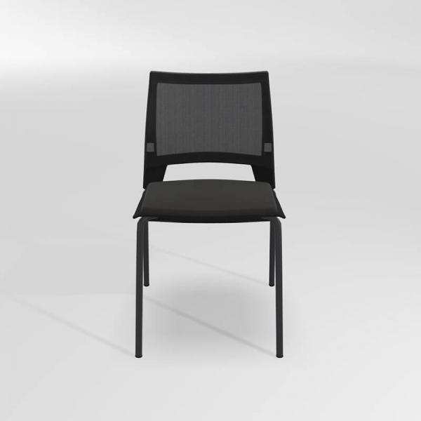 Chaise noire empilable en métal, tissu et polypropylène - Tecna - 3