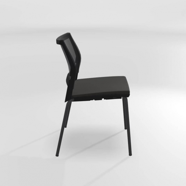 Chaise empilable en métal, tissu et polypropylène noir - Tecna - 4