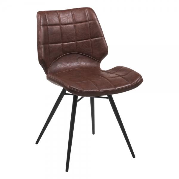 Chaise design marron vintage inspiration vintage avec pieds en métal noir - Iberis - 11