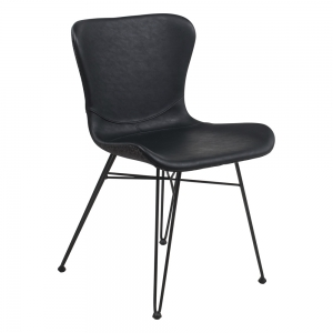 Chaise confortable design bi-matière pieds épingle - Kara