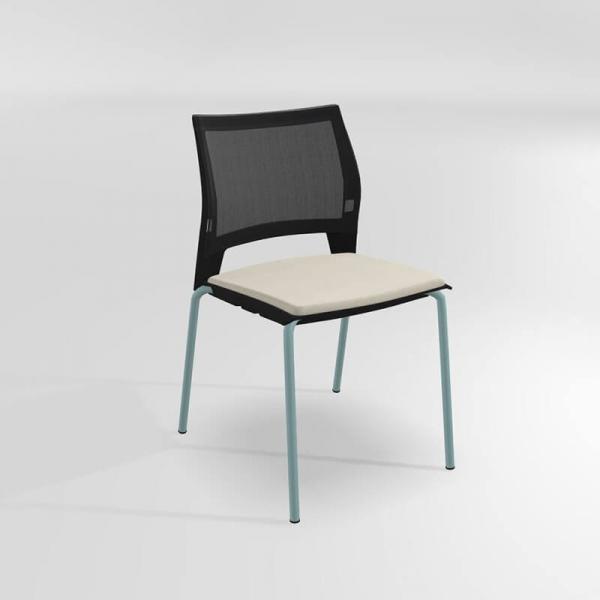 Chaise de réunion empilable en métal, tissu et polypropylène - Tecna - 7