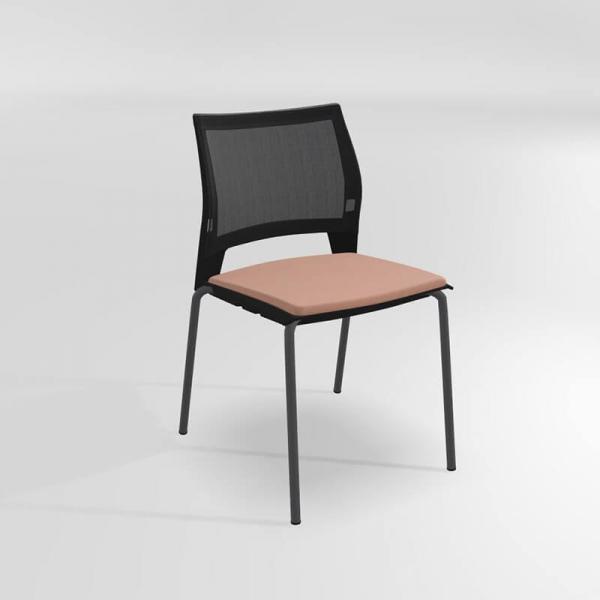 Chaise de réunion empilable en métal, tissu et polypropylène - Tecna - 8