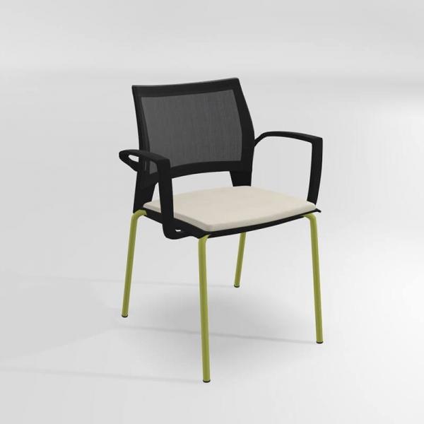 Chaise empilable avec accoudoirs tri-matière - Tecna - 7