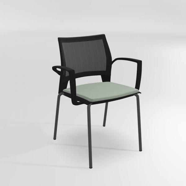 Chaise empilable avec accoudoirs tri-matière - Tecna - 8