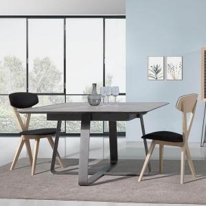 Table carrée design extensible en céramique noire - Sofia