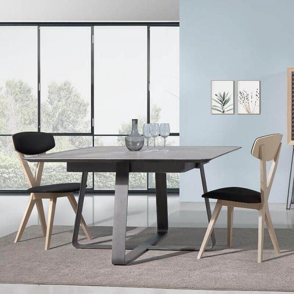 Table carrée design extensible en céramique noire - Sofia - 1