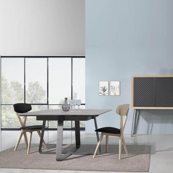 Table carrée design en céramique noire avec rallonge - Sofia - 2