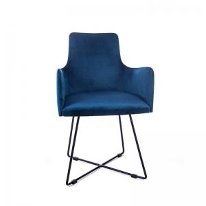 Fauteuil de salle à manger en tissu bleu et pieds métal noir - Anders
