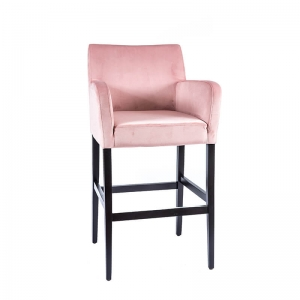Tabouret de bar en tissu rose avec accoudoirs - BarMoritz