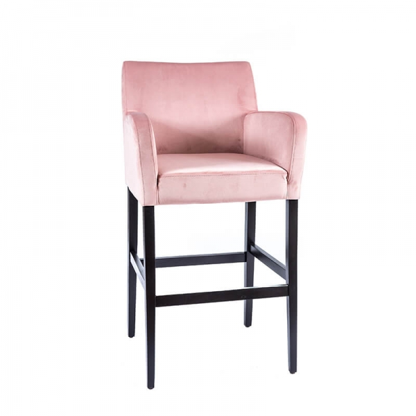 Tabouret de bar en tissu rose avec accoudoirs - BarMoritz - 1