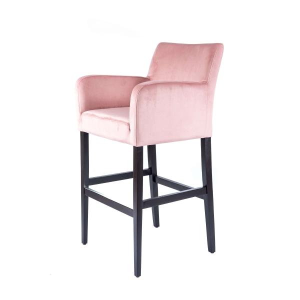 Tabouret de bar confortable en tissu rose et pieds en bois massif - BarMoritz - 5