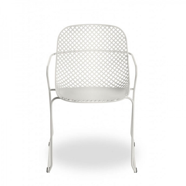 Chaise de jardin pieds traîneau blanche made in France - Ramatuelle Grosfillex - 8