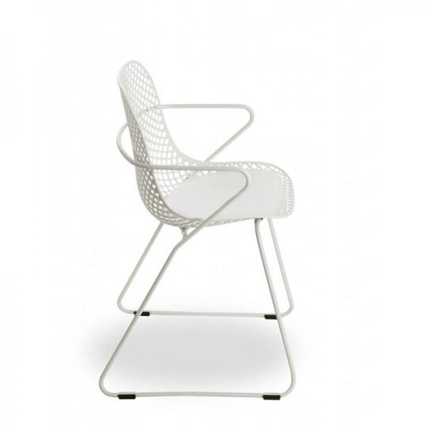 Chaise d'extérieur blanche design pieds traîneau - Ramatuelle Grosfillex - 11