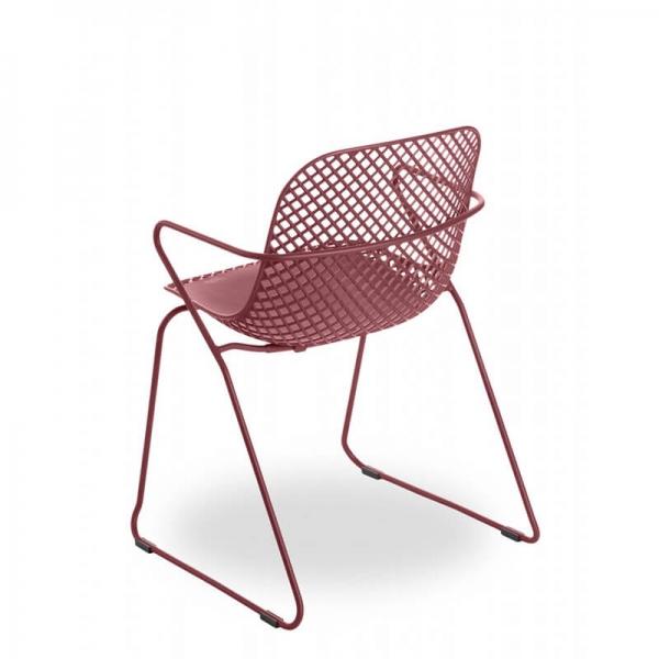Chaise de jardin design rouge pieds traîneau - Ramatuelle Grosfillex - 24