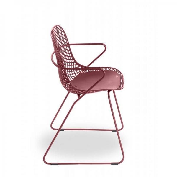 Chaise de jardin pieds traîneau rouge - Ramatuelle Grosfillex - 27