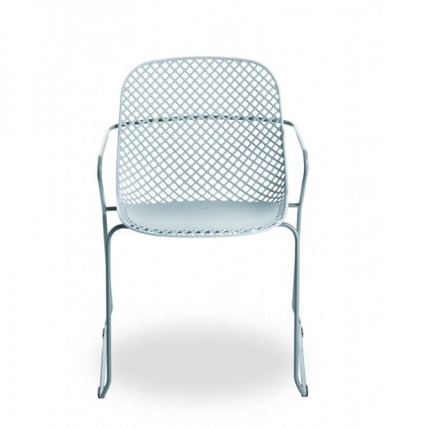 Chaise de jardin design bleue pieds traîneau - Ramatuelle Grosfillex - 35