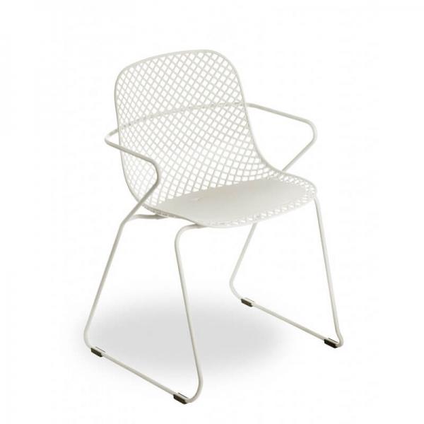 Chaise de jardin design blanche vintage en polypropylène et métal - Ramatuelle Grosfillex - 7