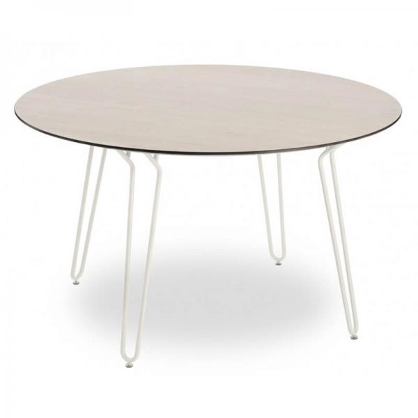 Table de repas ronde design pieds épingle en métal blanc - Ramatuelle Grosfillex - 4