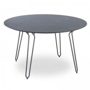 Table ronde design noire avec pieds épingle de fabrication française - Ramatuelle Grosfillex