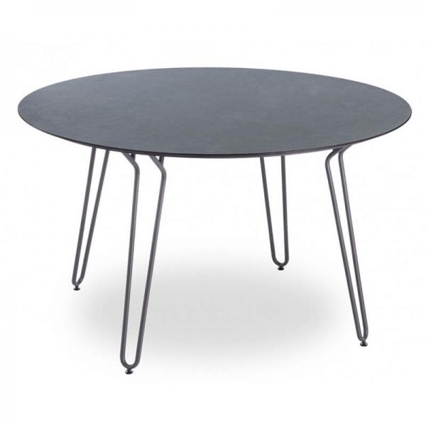 Table ronde design noire avec pieds épingle de fabrication française - Ramatuelle Grosfillex - 1