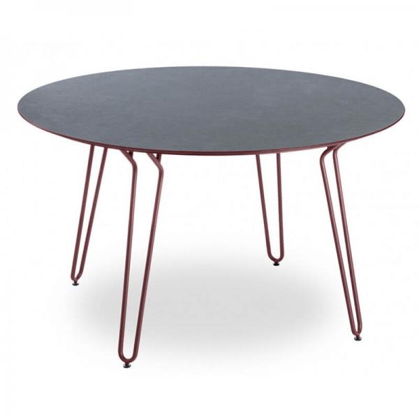 Table ronde pieds épingle en métal rouge fabrication française - Ramatuelle Grosfillex - 2