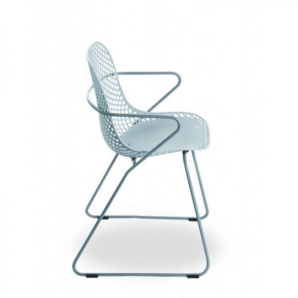 Chaise bleue design empilable pieds traîneau - Ramatuelle Grosfillex - 7