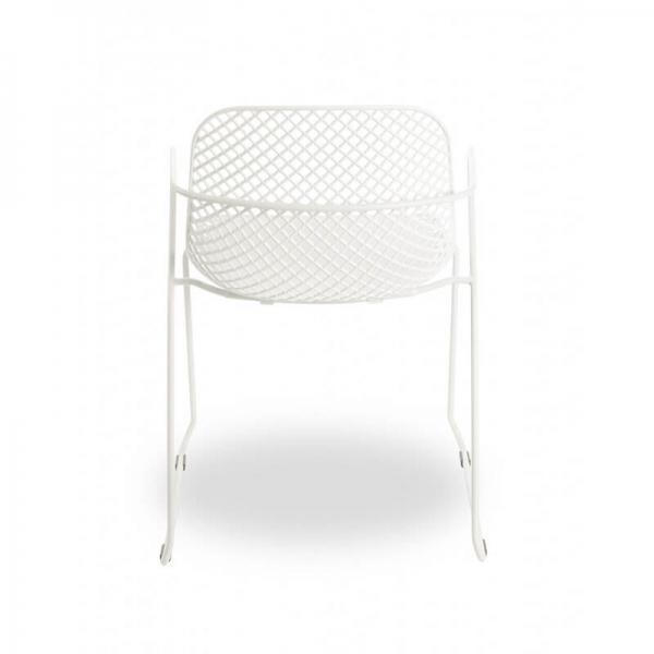 Chaise avec accoudoirs empilable et pieds traîneau blanche - Ramatuelle Grosfillex - 11