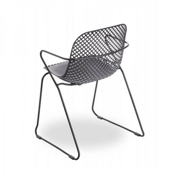 Chaise design empilable grise avec accoudoirs - Ramatuelle Grosfillex - 15