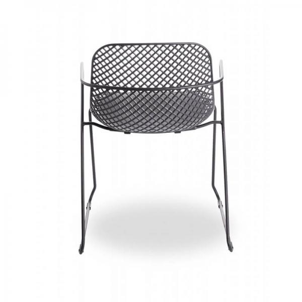 Chaise empilable avec accoudoirs et pieds traîneau grise - Ramatuelle Grosfillex - 16