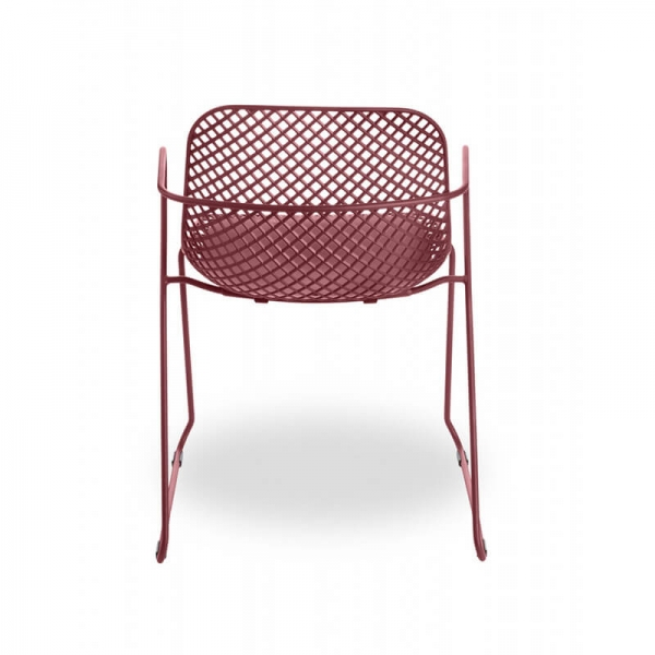 Chaise ajourée rouge empilable made in France - Ramatuelle Grosfillex - 27