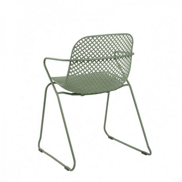 Chaise design de salle à manger verte avec pieds luge - Ramatuelle Grosfillex - 30