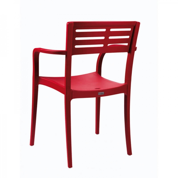Chaise de jardin rouge avec accoudoirs made in France - Urban Grosfillex - 26