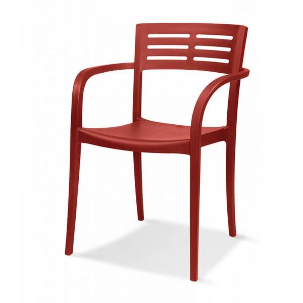 Chaise de terrasse avec accoudoirs empilable rouge - Urban Grosfillex - 27
