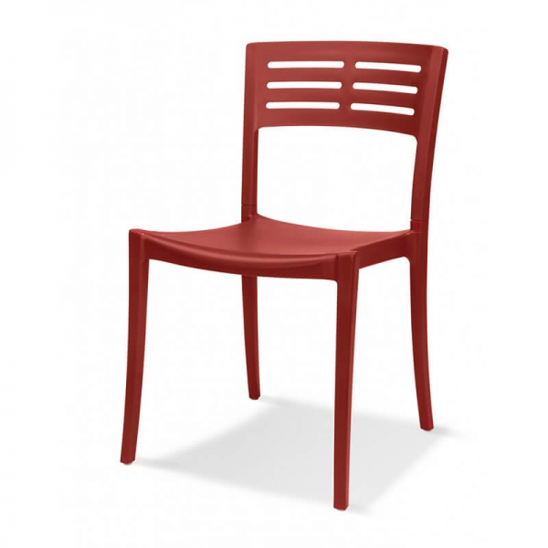 Chaise de jardin contemporaine rouge empilable - Urban Grosfillex - 12